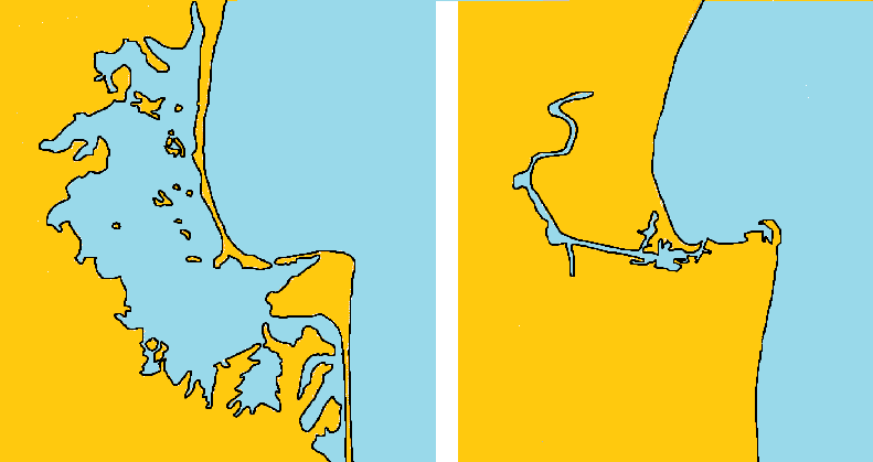Comparison map of the extent of Ahuriri Lagoon before(left) and after(right) the 1931 Hawke's Bay earthquake.