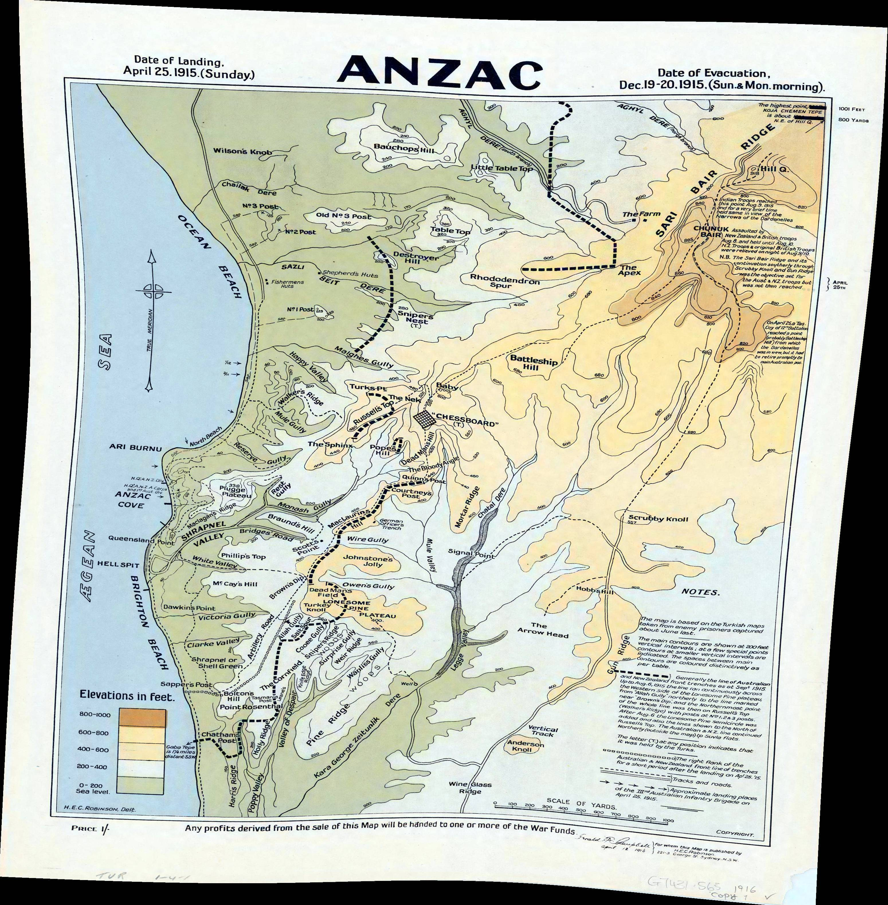 Anzac Cove Map File:Anzac Cove region topographic battlefield map H.E.C. Robinson