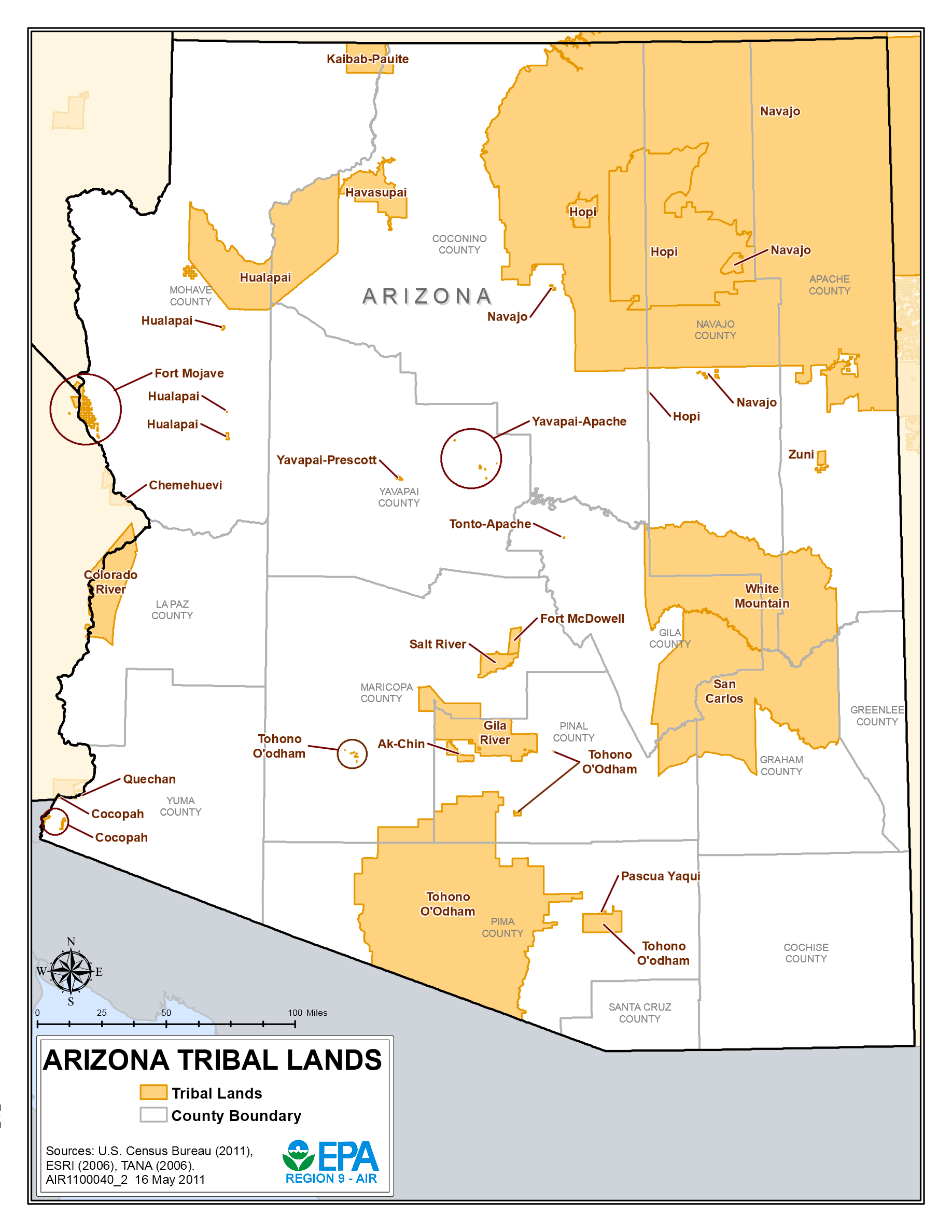 Indian Reservations In Arizona Map List of Indian reservations in Arizona   Wikipedia