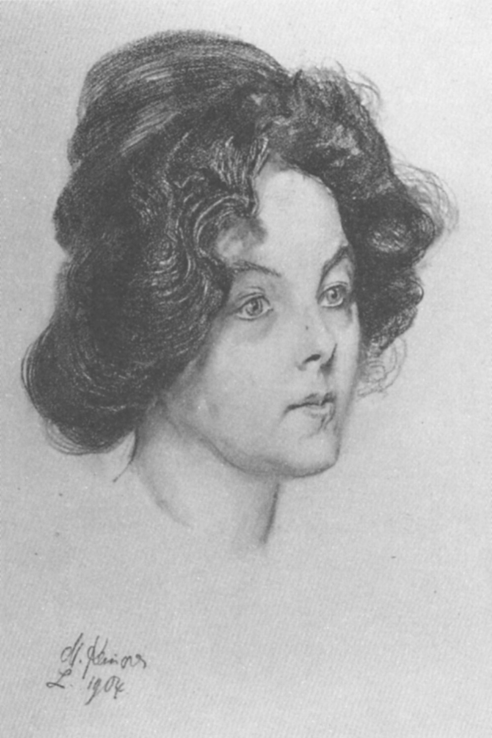 Elsa Asenijeff 1904, drawing by Max Klinger