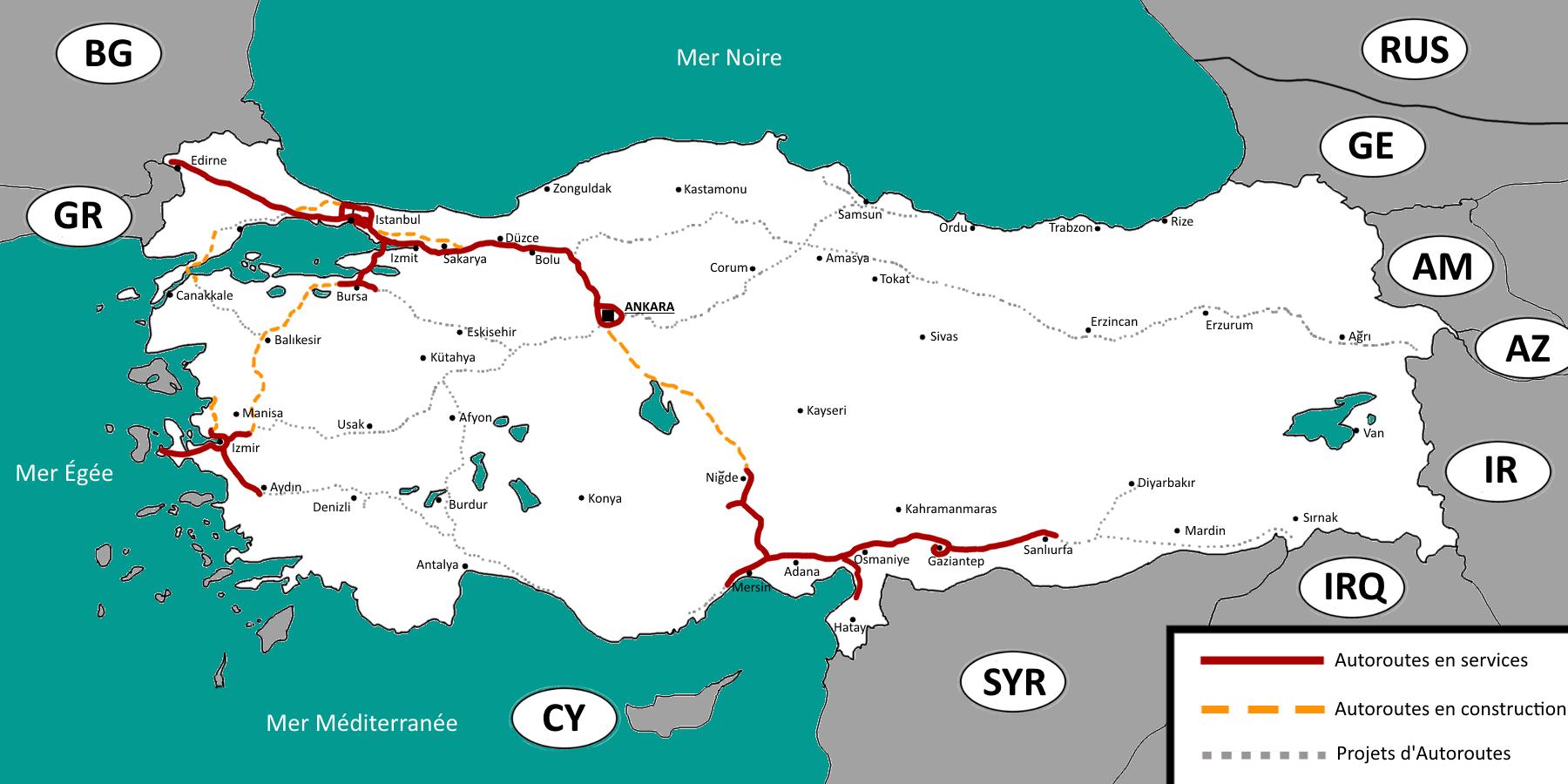 Liste Des Autoroutes De La Turquie Wikipédia