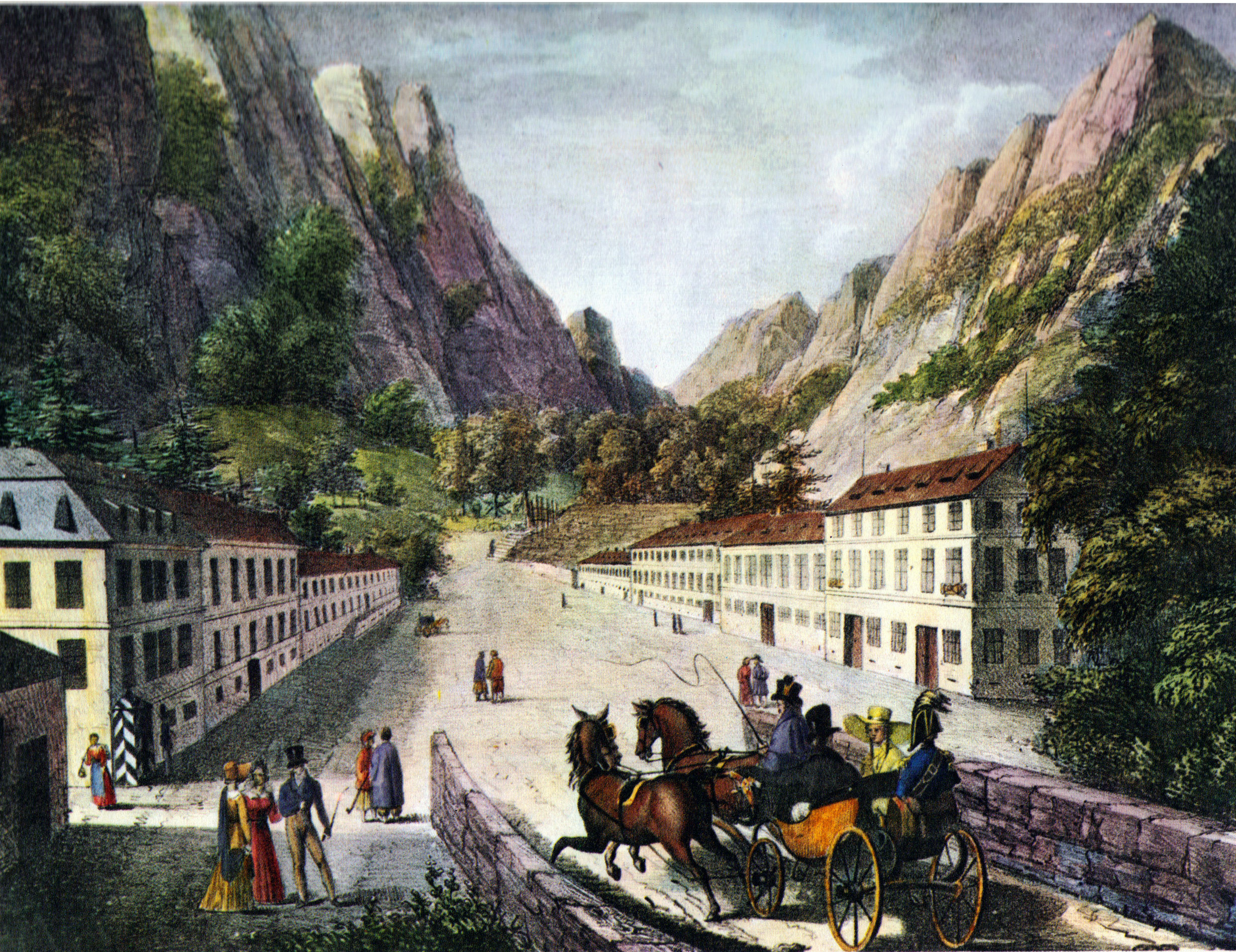 Sursa/source: wikipedia; https://commons.wikimedia.org/wiki/File%3ABaile_Herculane_road_1824.jpg