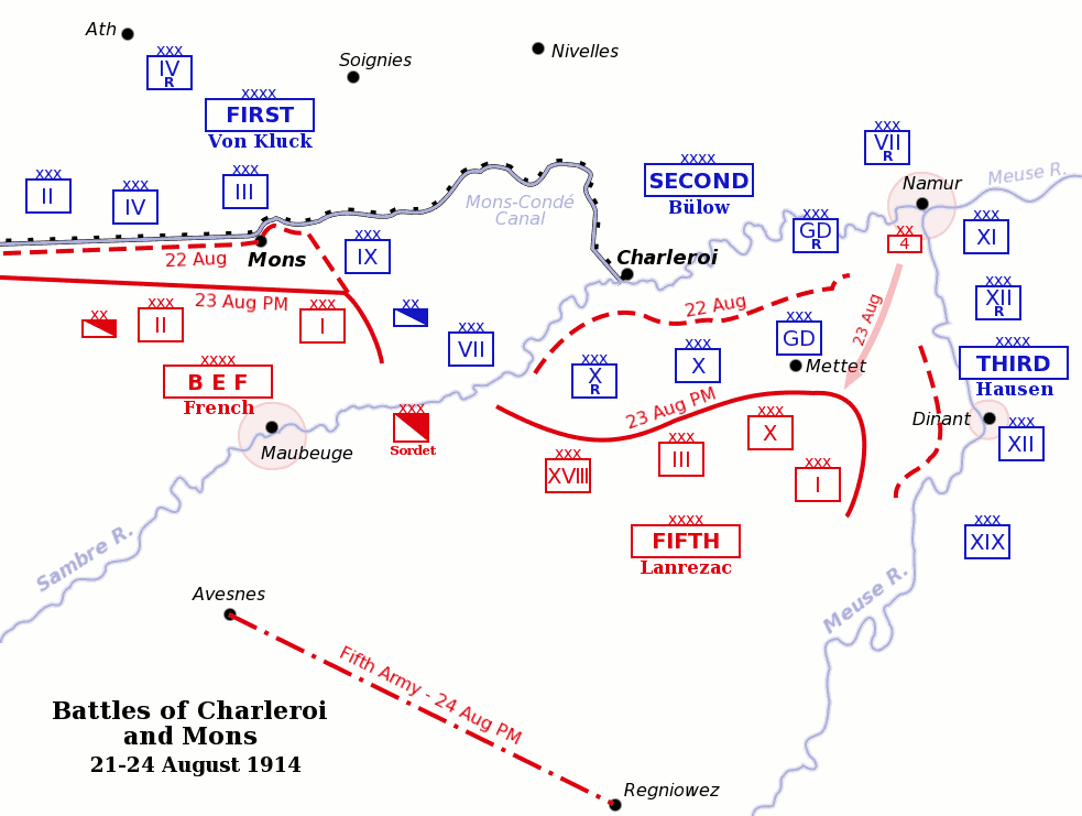 Battles of Mons and Charleroi
