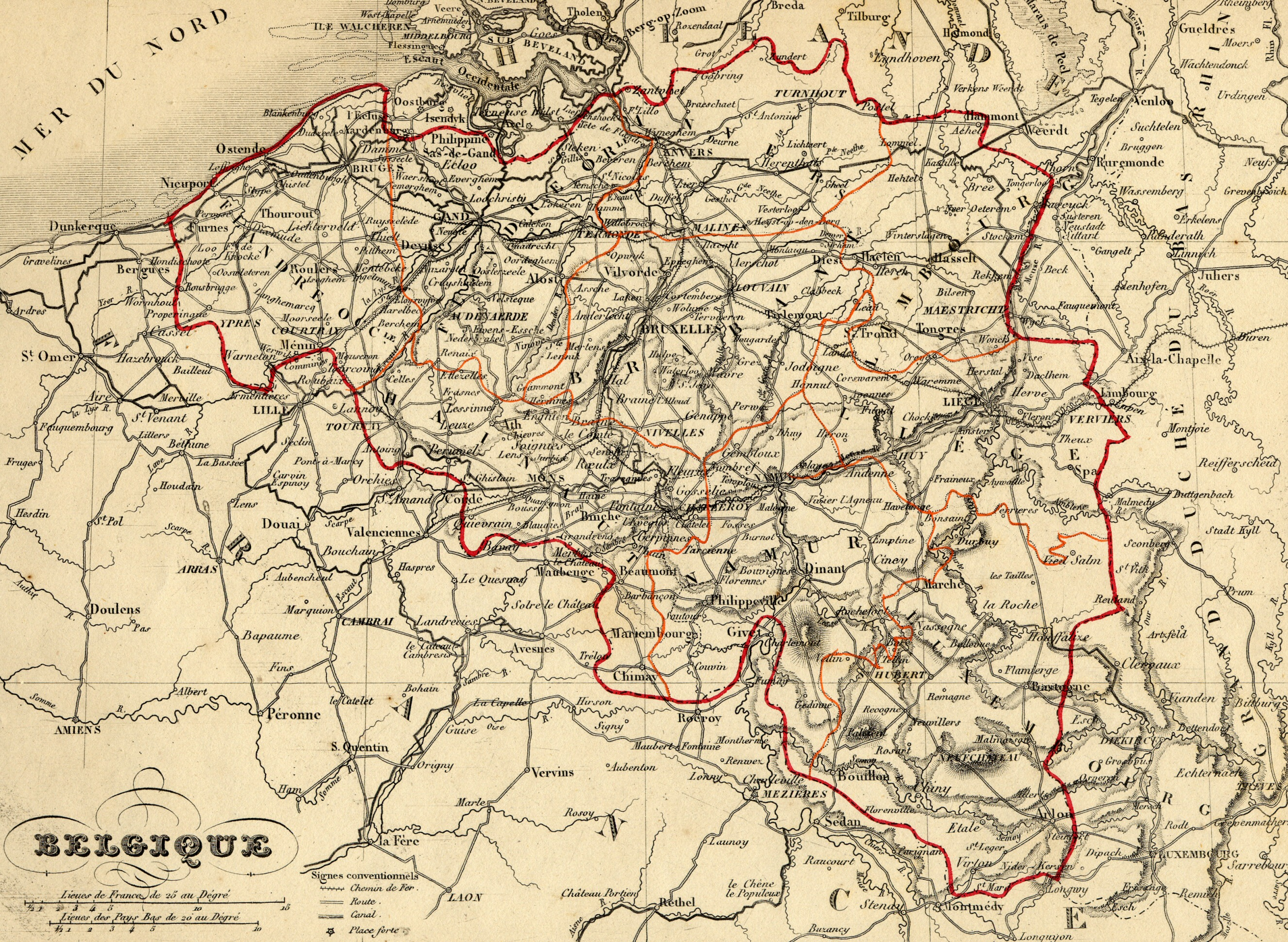 Description carte belgique 1843