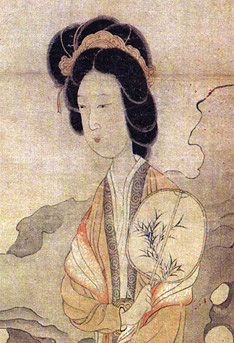 Appreciating Plums, by Chen Hongshou (1598-1652) showing a lady holding an oval fan while enjoying the beauty of the plum. Chen Hongshou, Appreciating Plums, detail.jpg