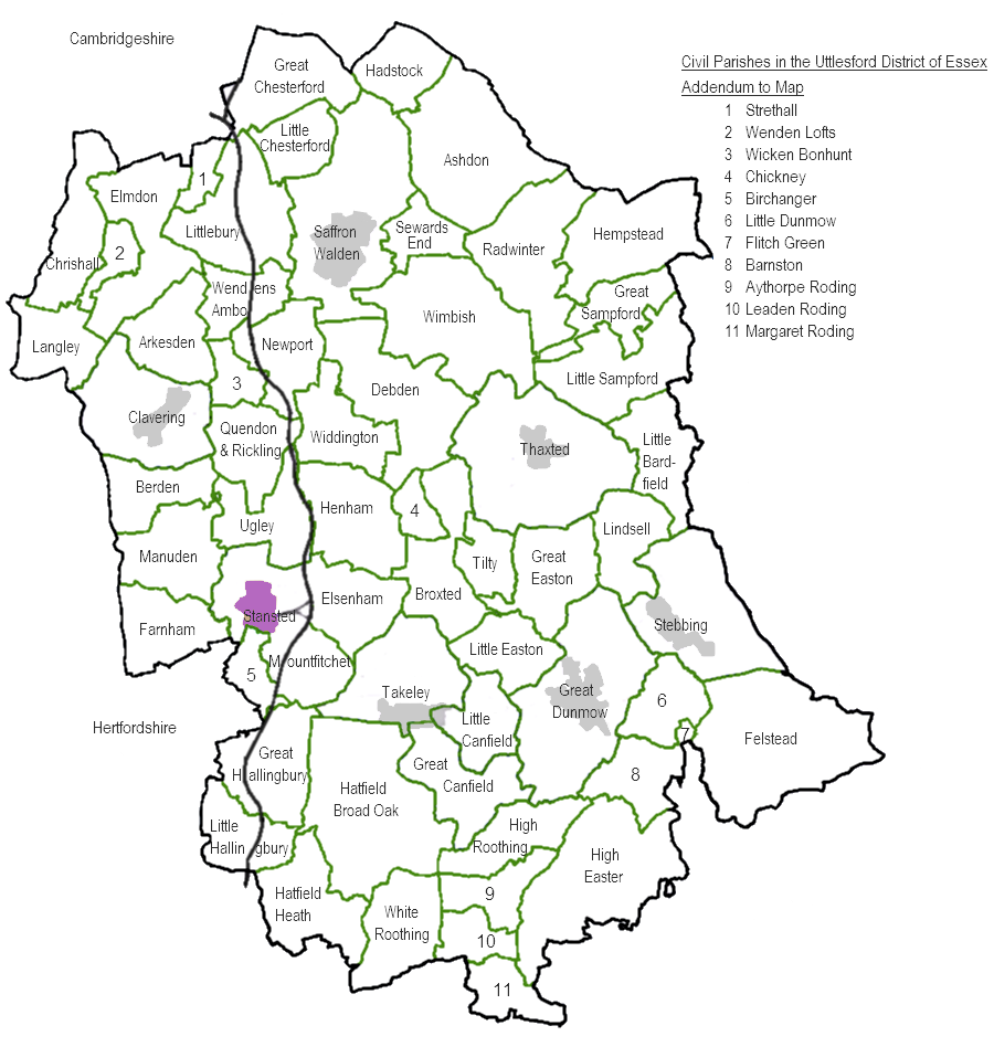 Time Zone Map Black And White: Uttlesford