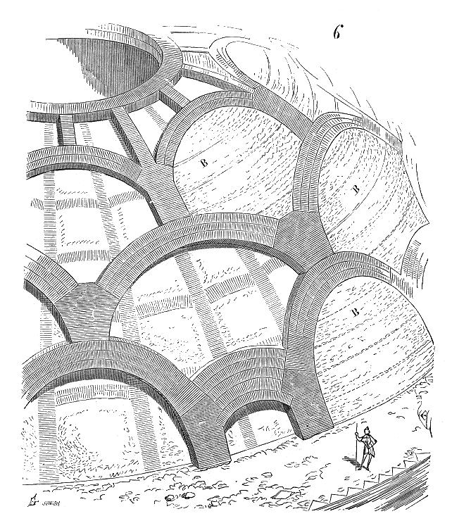 Voute du Panthéon de Rome formant son dôme. Illustration de Eugène Viollet le Duc