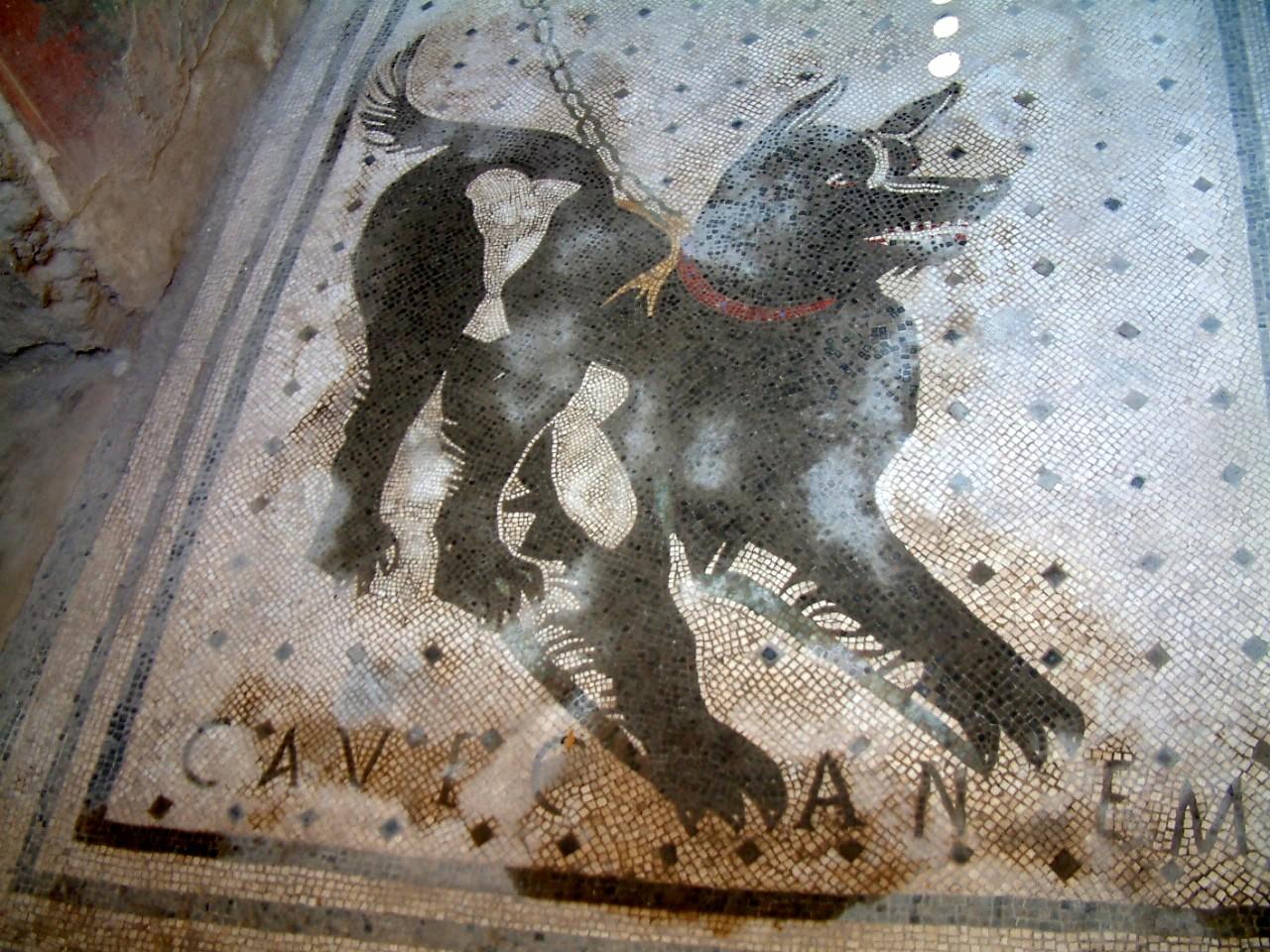 Cave Canem mosaic in Pompeii