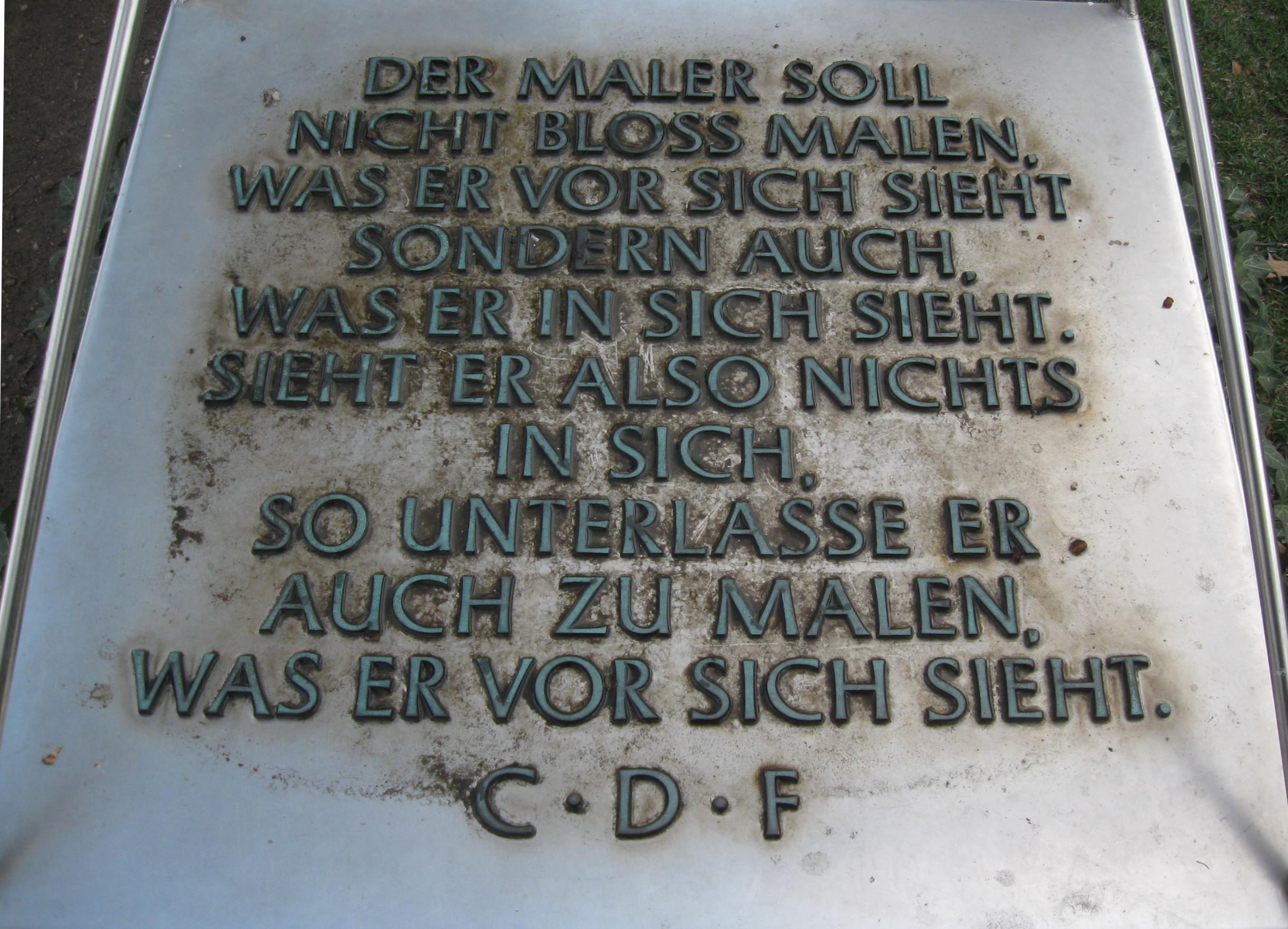 Dresden Brühlsche Terrasse Caspar David Friedrich Denkmal Memorial Inschrift Inscription.jpg