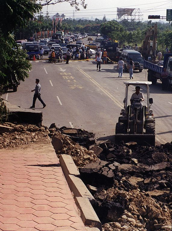 Earthquake cracked road