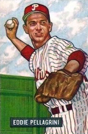 A baseball card image of a man wearing a white baseball uniform with red pinstripes and a red baseball cap