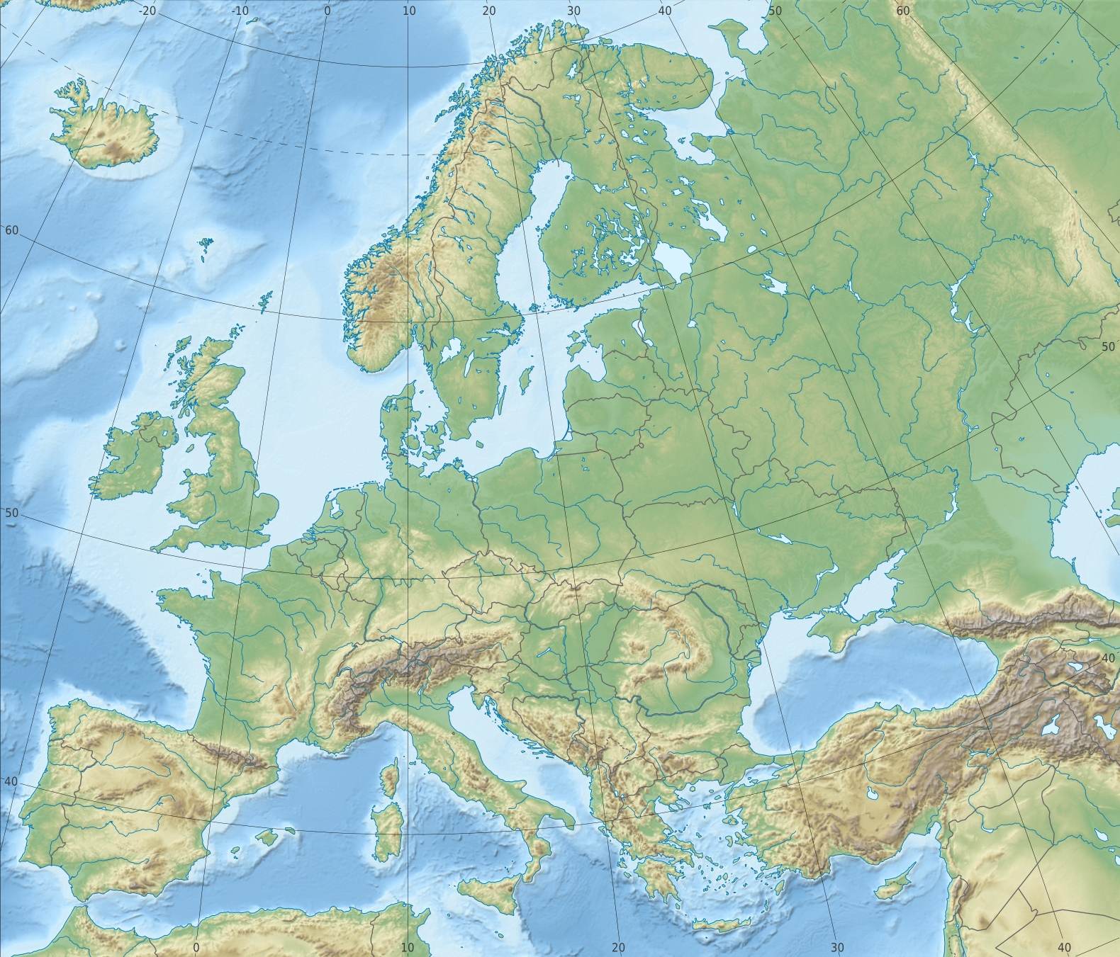 Where Did All The Mountains Go Page - Europe terrain map