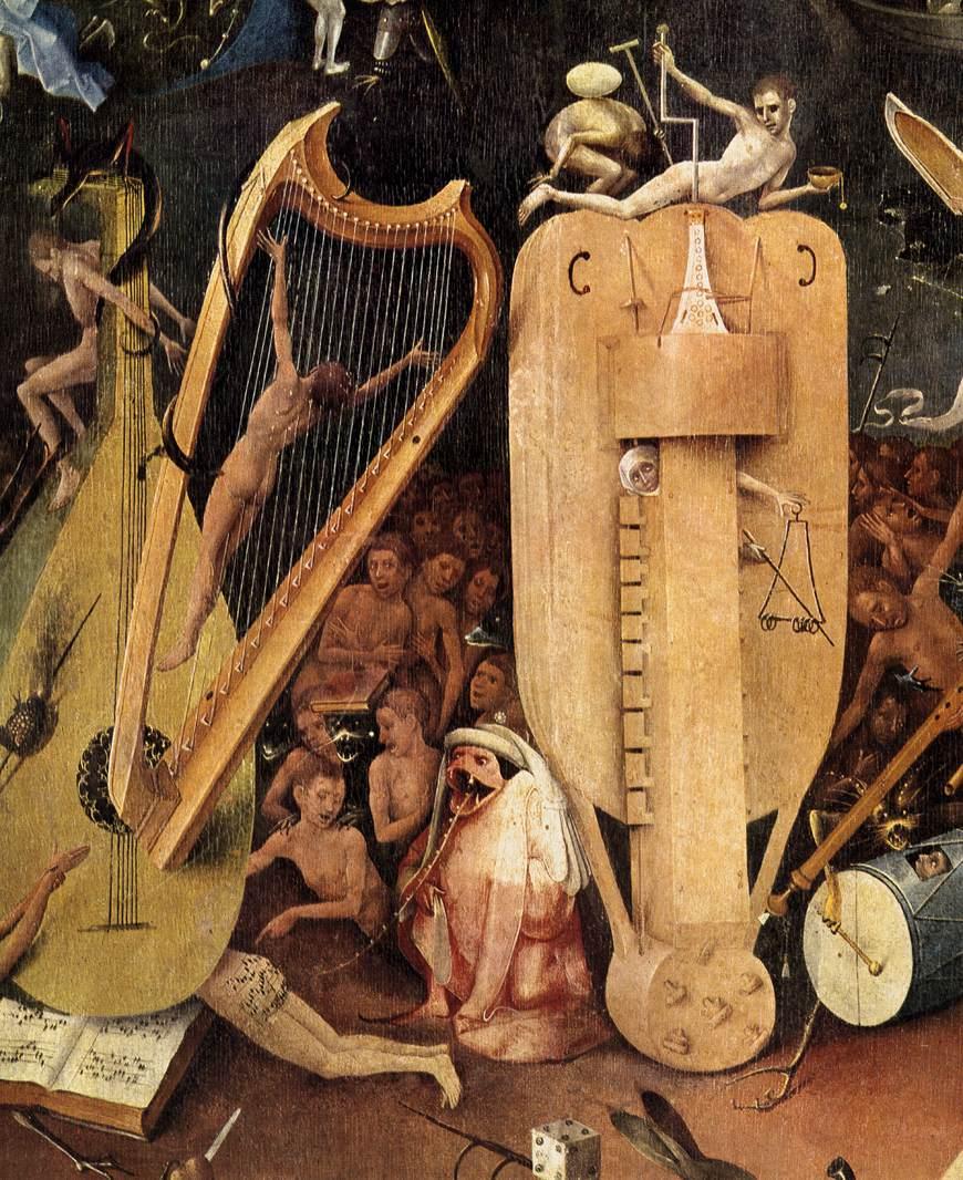 """Картинки по запросу """"Сад радостей земных"""" есть изображение человека, распятого на струнах"""
