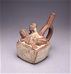 Man and woman having anal sex. Ceramic, Moche ...