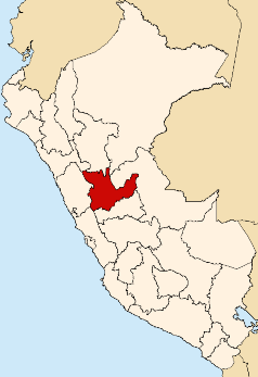Location of the Huánuco region in Peru