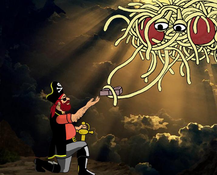 """Das Fliegende Spaghettimonster übergibt die acht """"Mir wär's wirklich lieber, Du würdest nicht""""'s an Piraten-Kapitän Mosey (Bild: Osado / Wikipedia("""