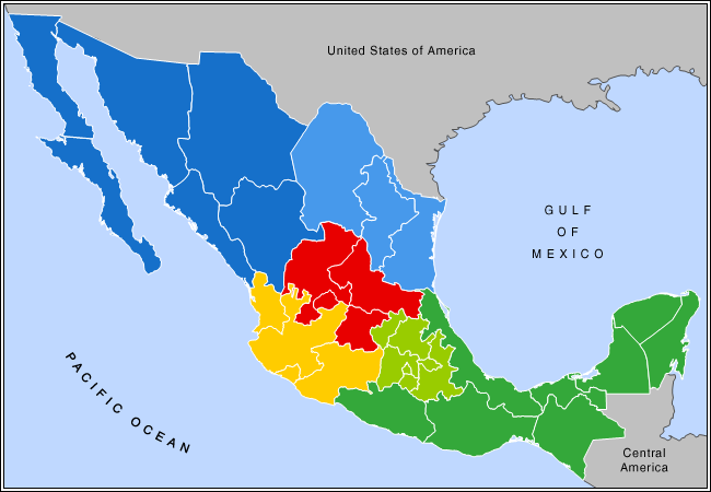 Mexico: Regions and States width=