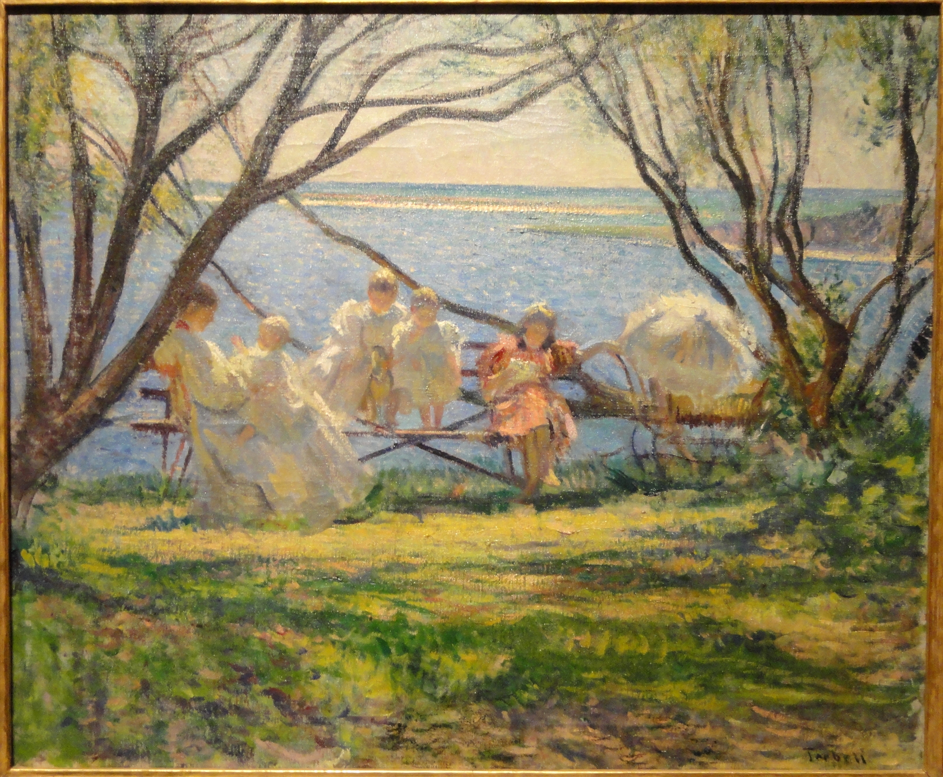 File my family at cotuit by edmund c tarbell c 1900 for What is canvas painting