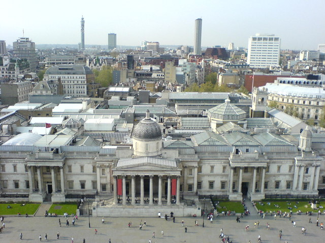 File:National Gallery from atop Nelson's Column, Trafalgar Square, London - geograph.org.uk - 287253.jpg
