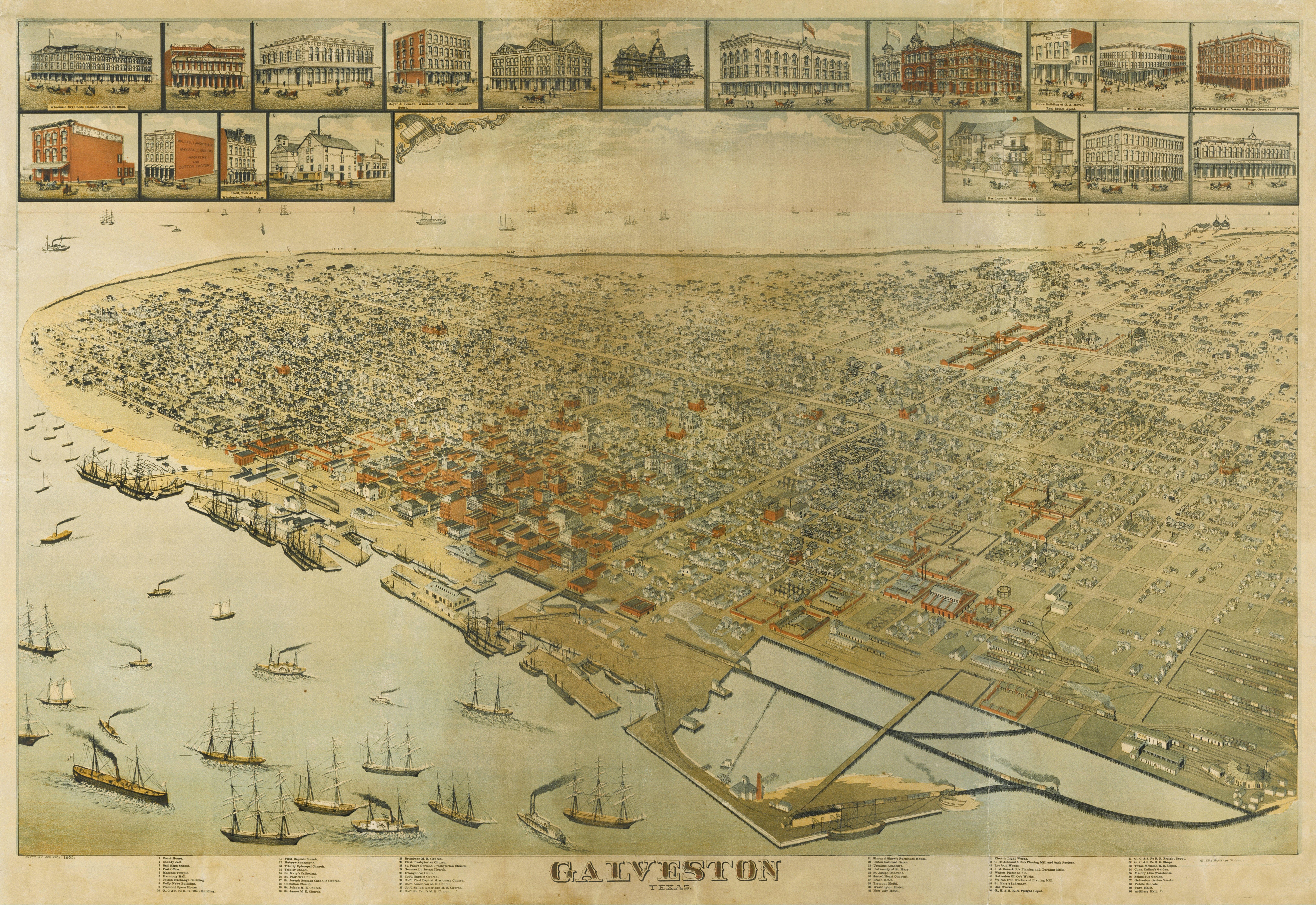 File:Old map-Galveston-1885.jpg - Wikimedia Commons on