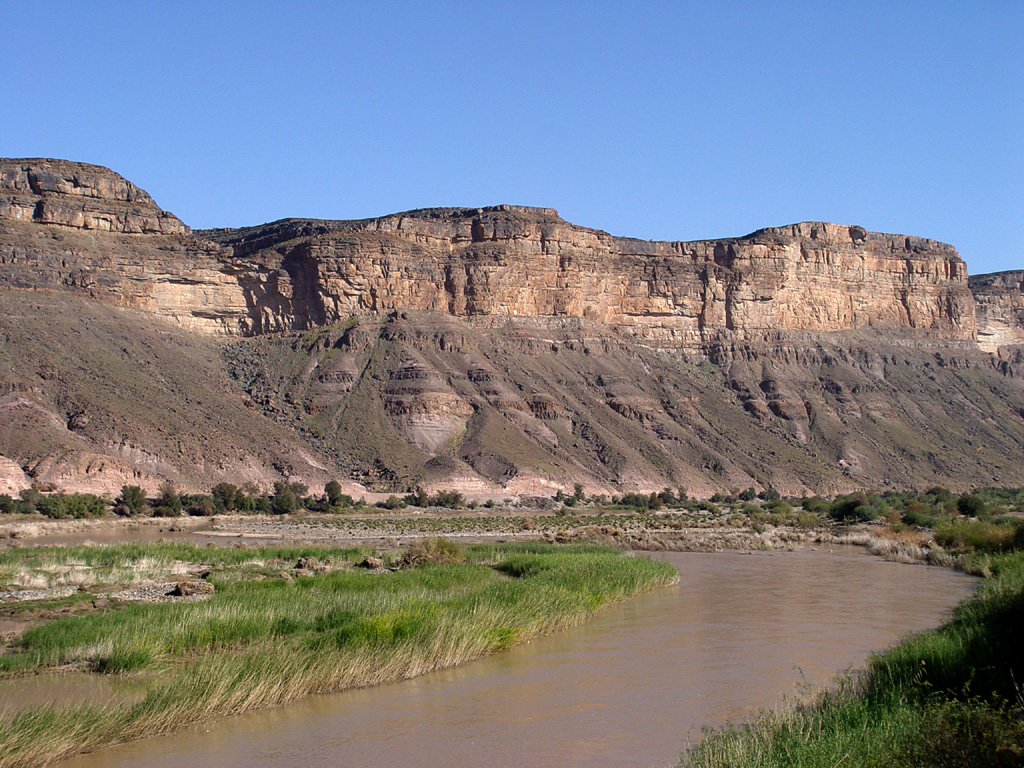 Description orange river and mountains, south africa