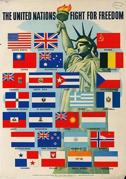 """First UN poster, August 1942. Soviet flag captioned as """"Russia"""""""