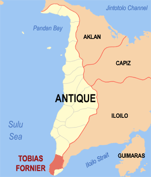 Map of Antique showing the location of Tobias Fornier