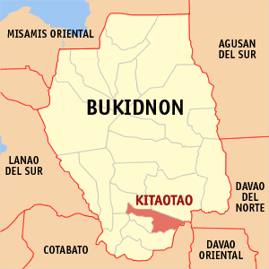 Map of Bukidnon showing the location of Kitaotao