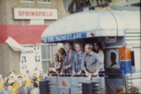 Thompson joins President Gerald Ford on a whistle stop in Springfield