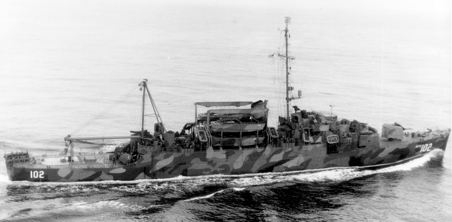 USS Rednour (APD-102) underway in the Atlantic Ocean on 20 February 1945 (80-G-384565).jpg