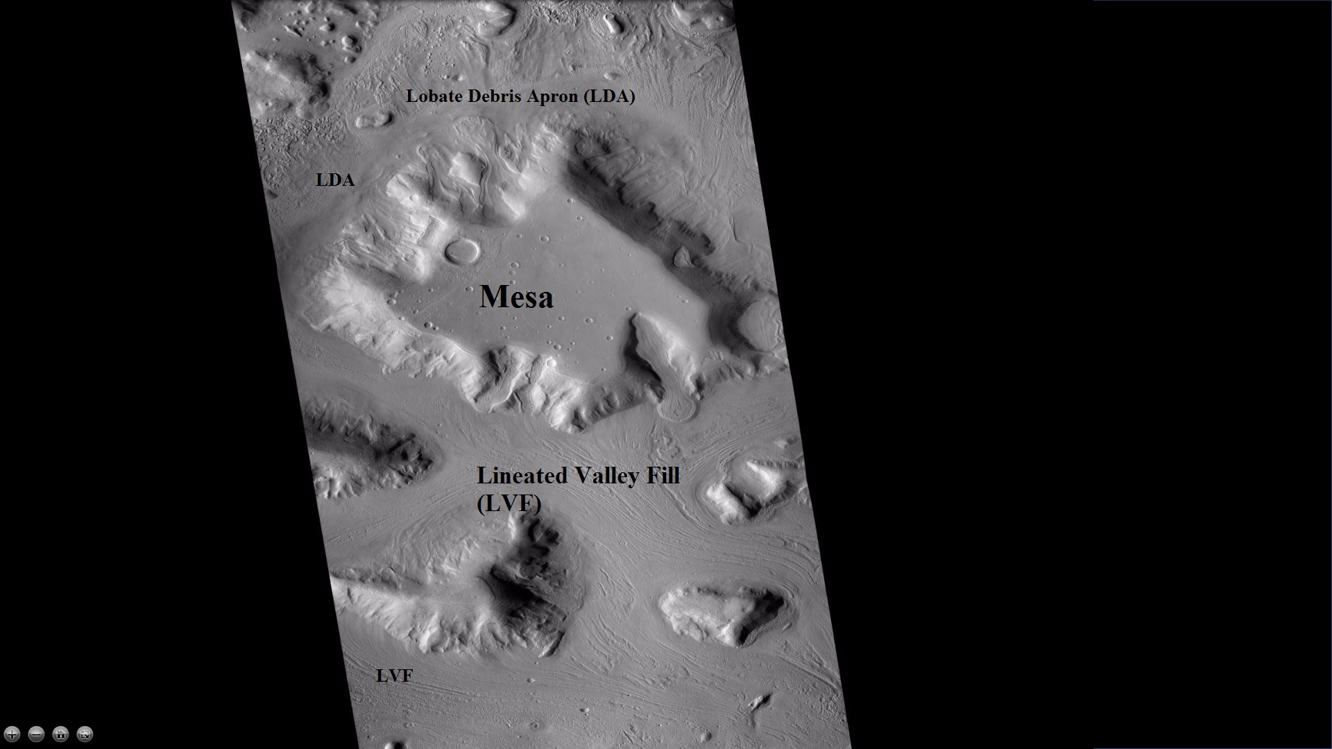 Wide CTX view showing mesa and buttes with lobate debris aprons and lineated valley fill around them.