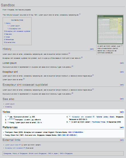 Wikipedia layout sample Notes References.png