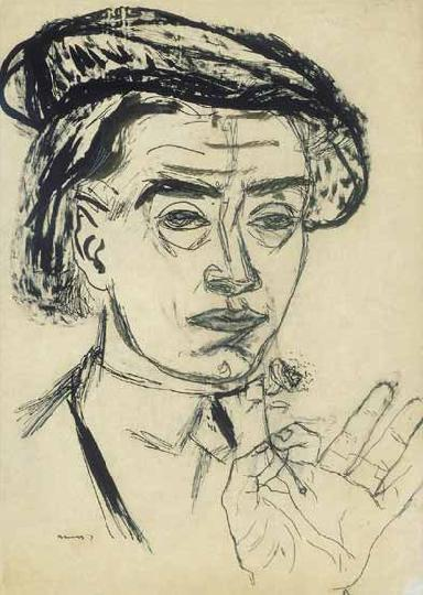 Файл:Ámos - Self-portrait with hat.jpg
