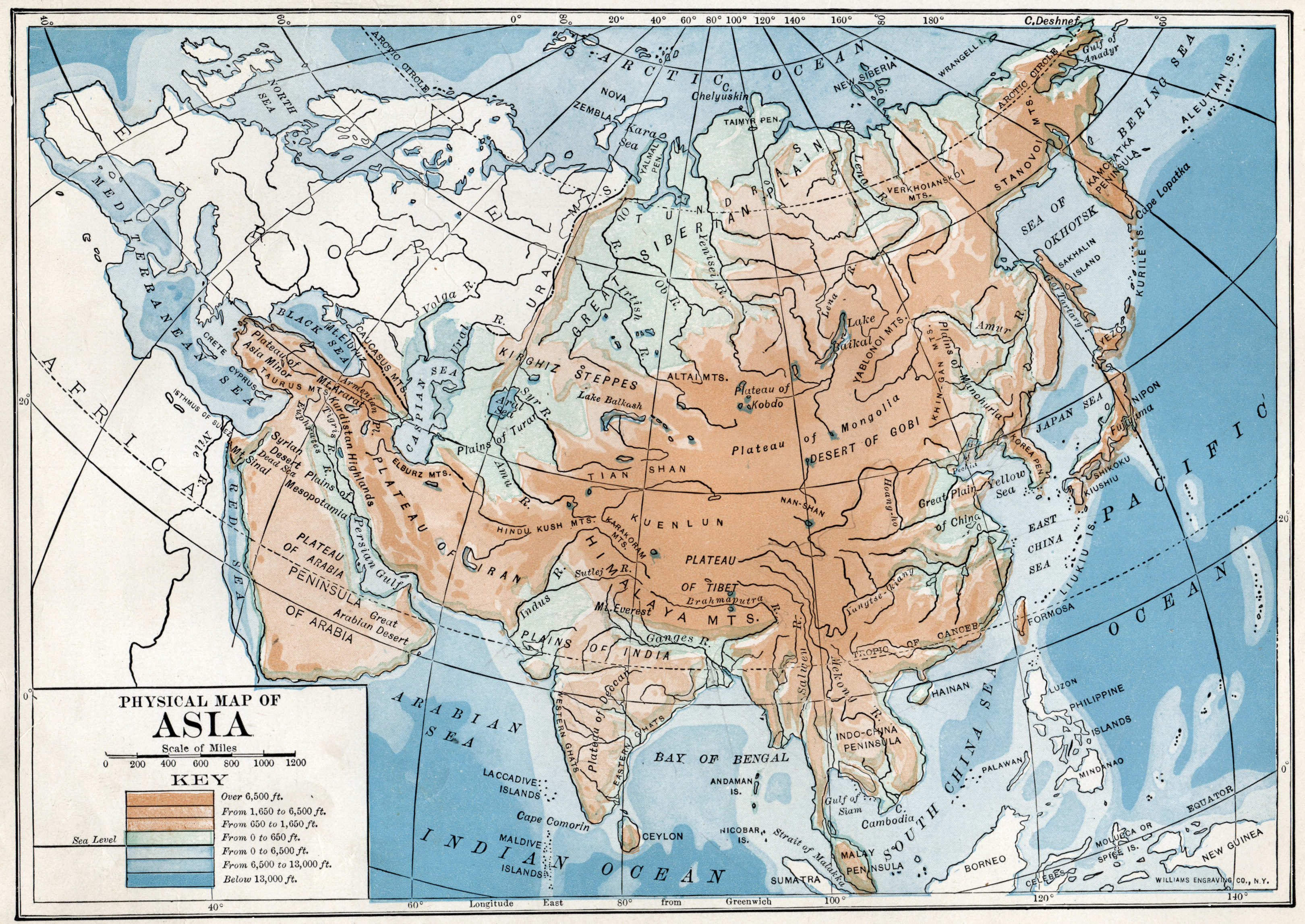 Physical Map Of Asia With Labels.File 1916 Physical Map Of Asia Jpg Wikimedia Commons