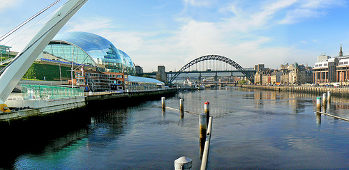 A view from Millennium bridge over the river Tyne at Newcastle-upon-Tyne