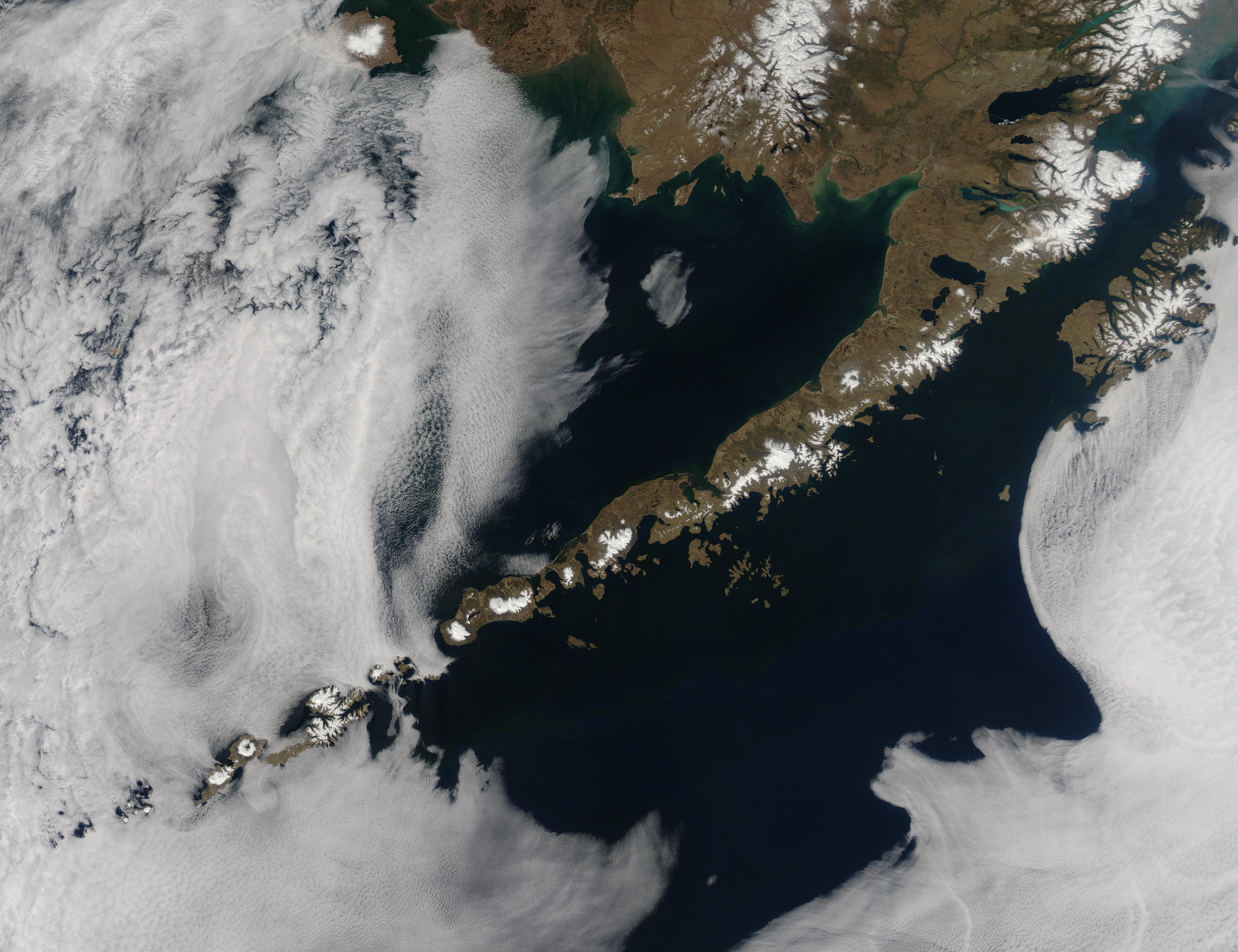 Satellite image of the Aleutian islands.