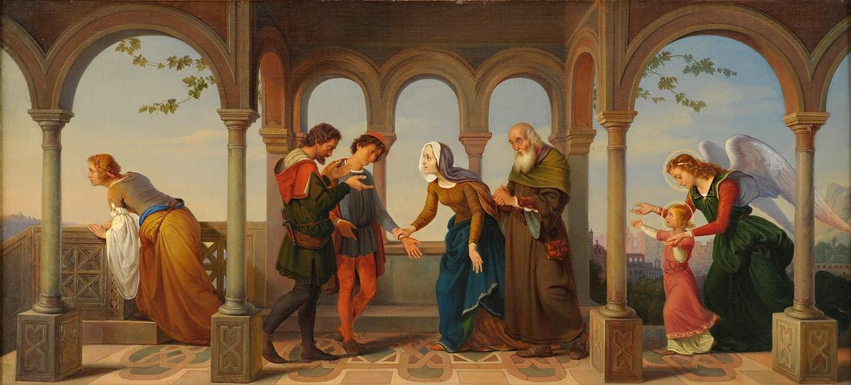 Alfred Schüssler Ein Engel bringt die hl Katharina ihren Eltern zurück.jpg