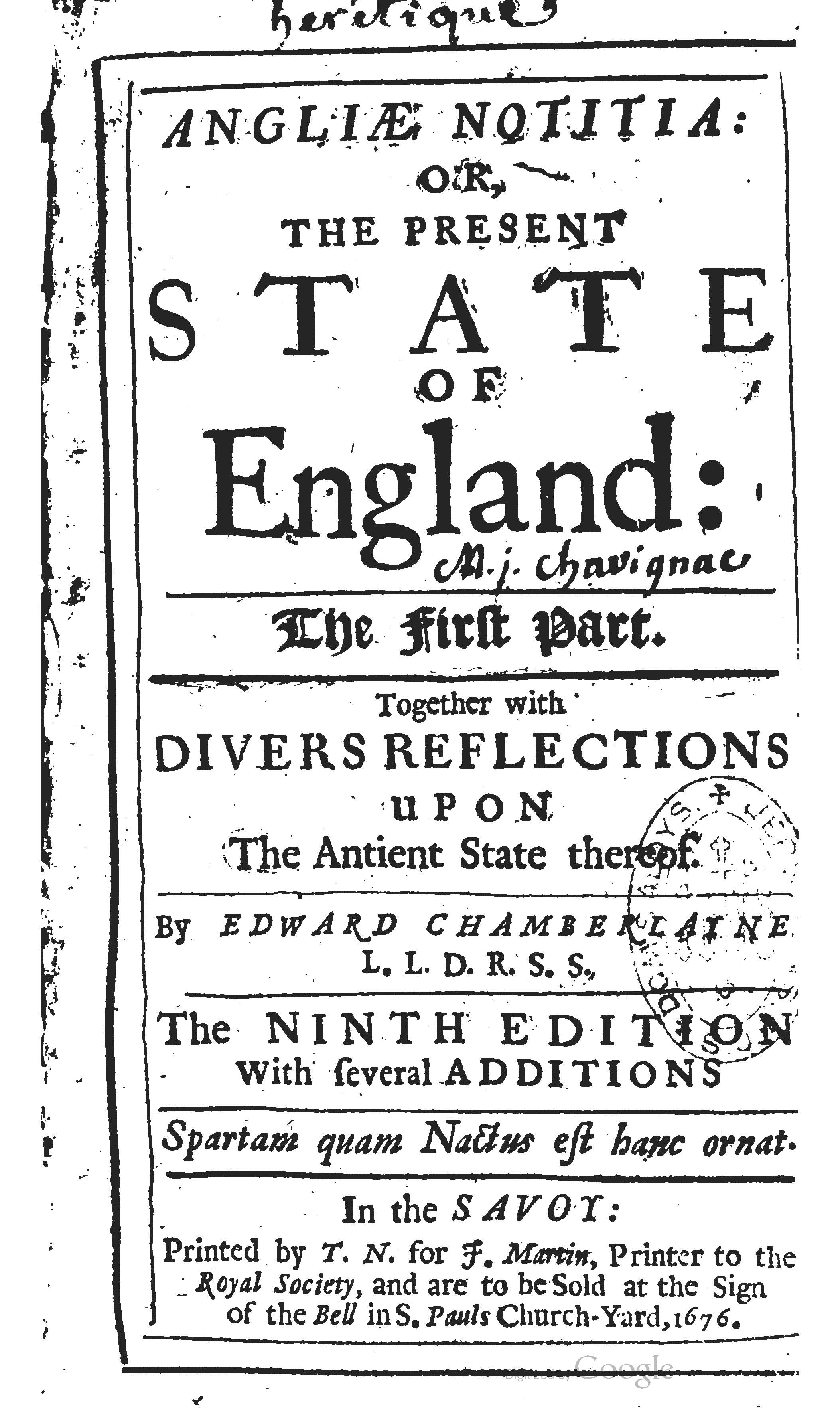 The title page of Chamberlayne's work ''Angliæ Notitia: Or, The Present State of England: The First Part'' (9th edition, 1676)