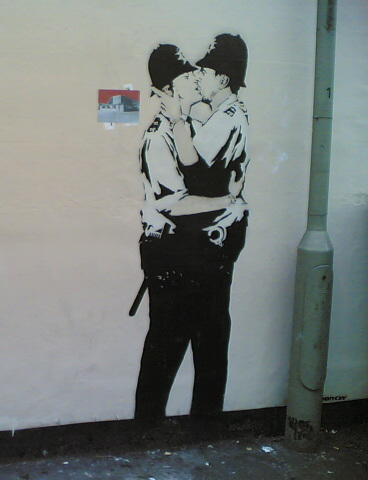 Banksy: Kissing Policemen- detail