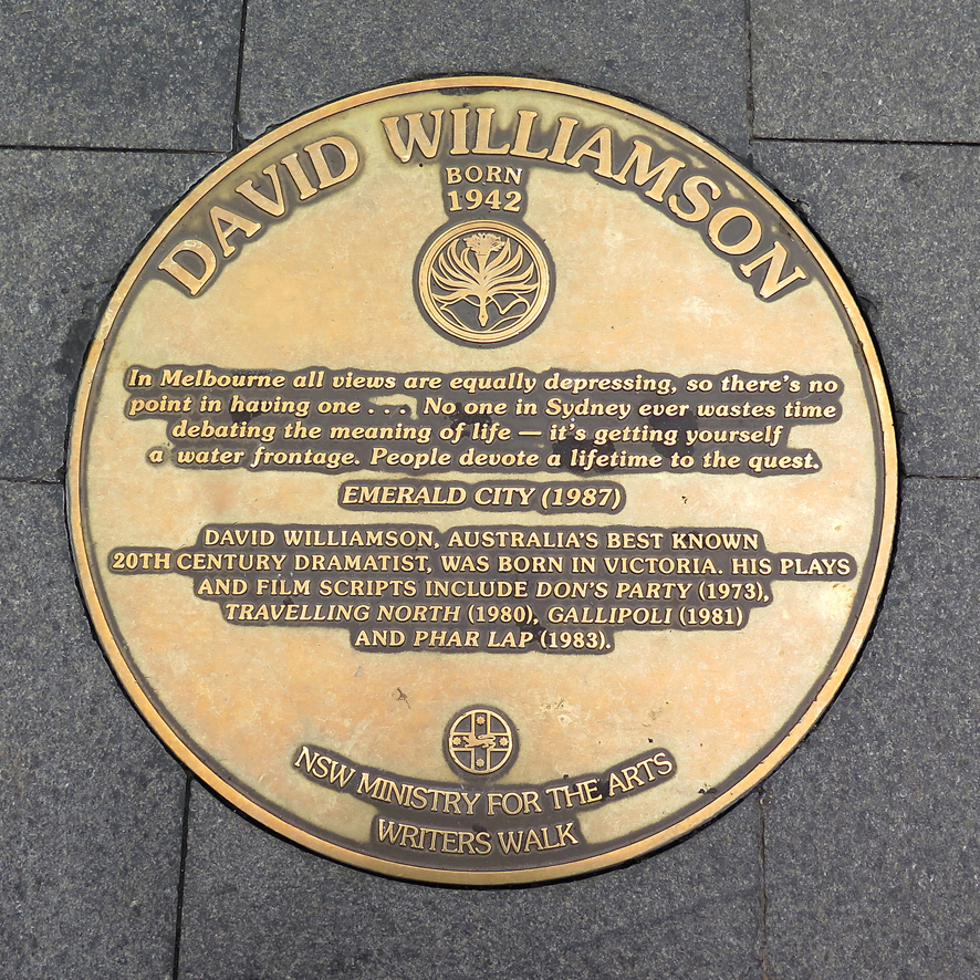A plaque in the Sydney Writers Walk series at Circular Quay