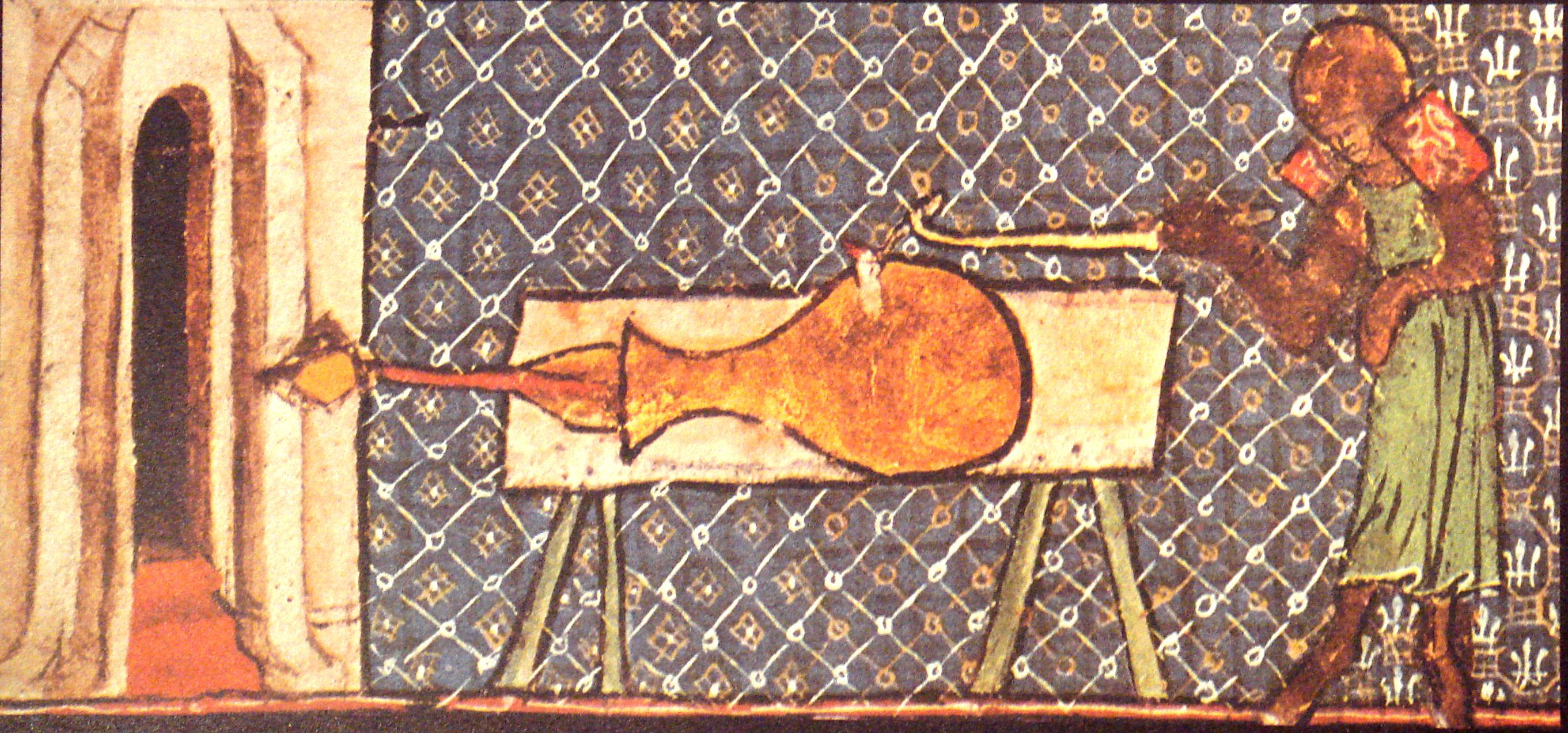 Early cannon (1326). De Nobilitatibus Sapientii Et Prudentiis Regum Manuscript. Walter de Milemete. Wikipedia.