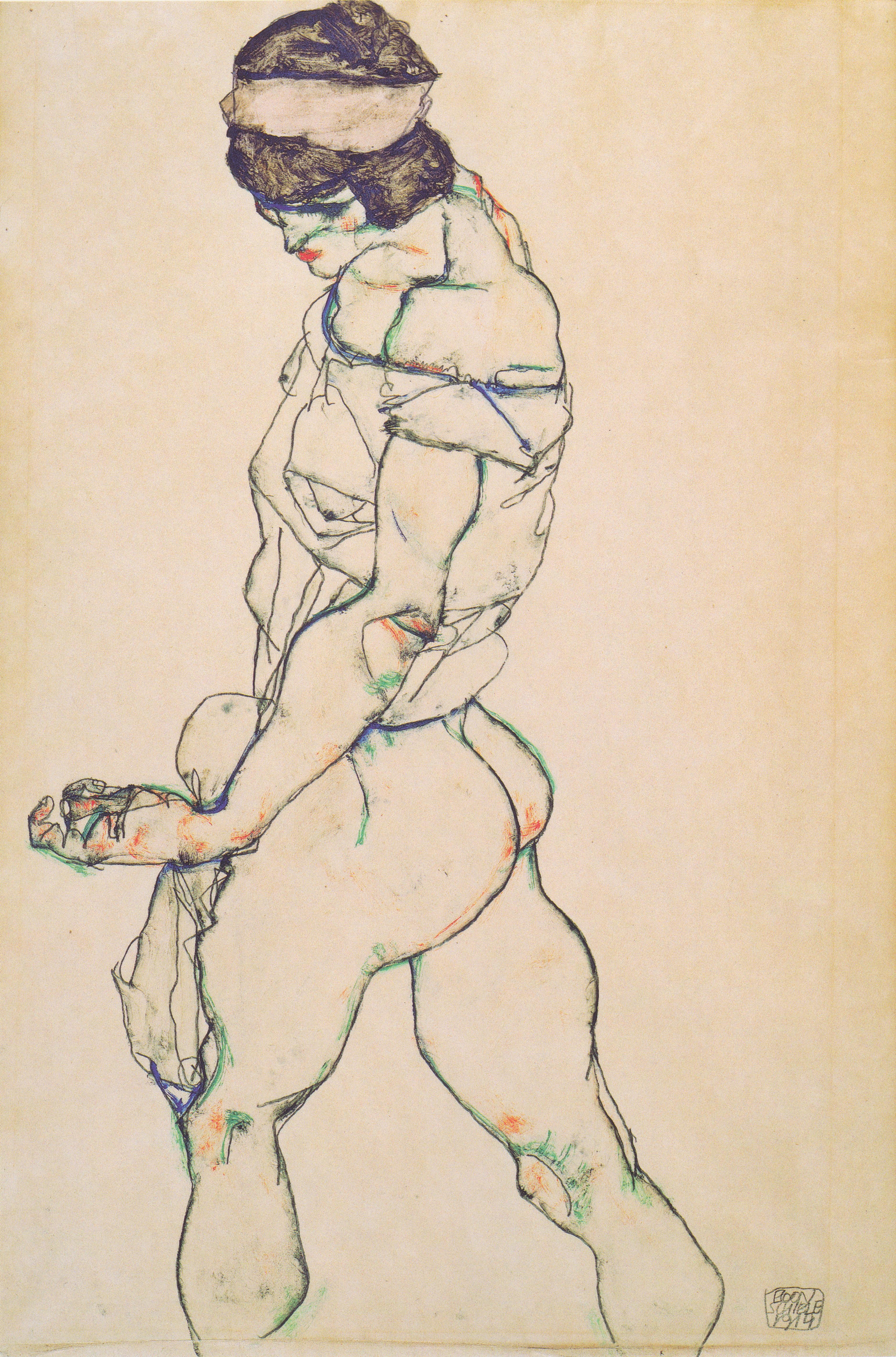 Egon_Schiele_-_Nach_links_schreitender_Frauenakt_-_1914 Drawing ugliness