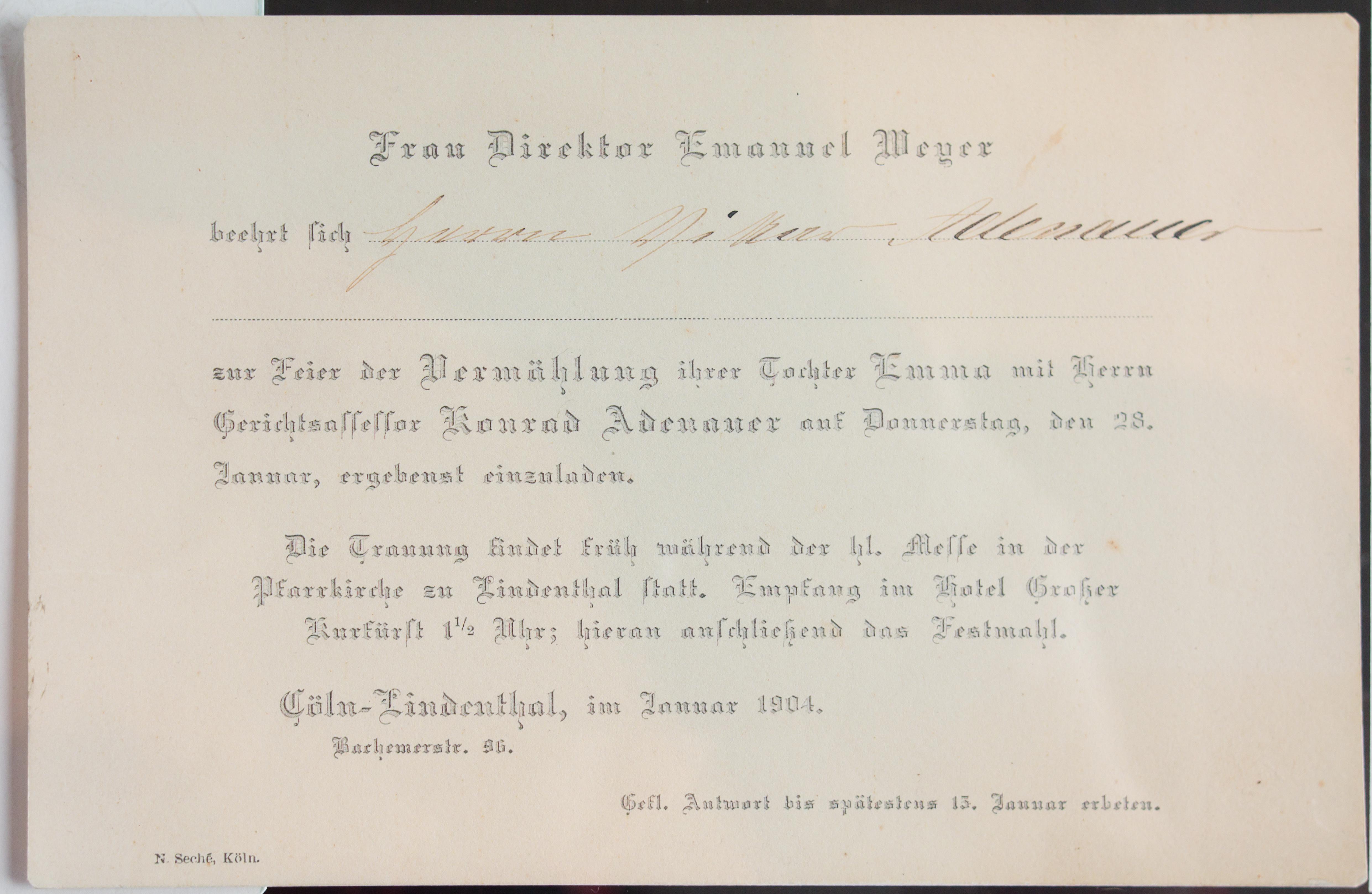 Datei Einladung Hochzeit Emma Weyer Konrad Adenauer 5939 Jpg Wikipedia