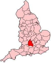 Kort med Oxfordshire i England