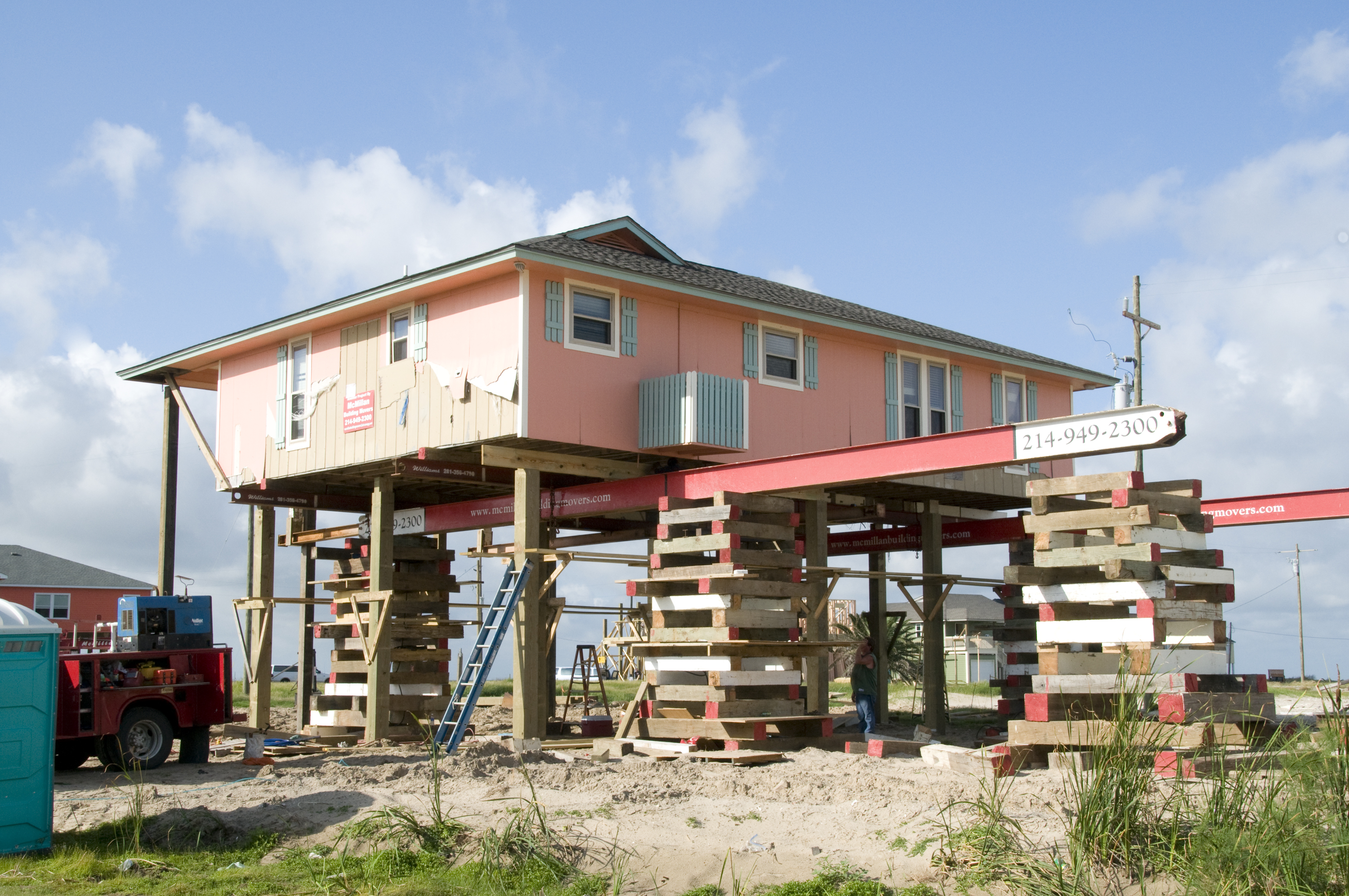 File fema 44202 home being elevated in crystal beach for Elevated beach homes