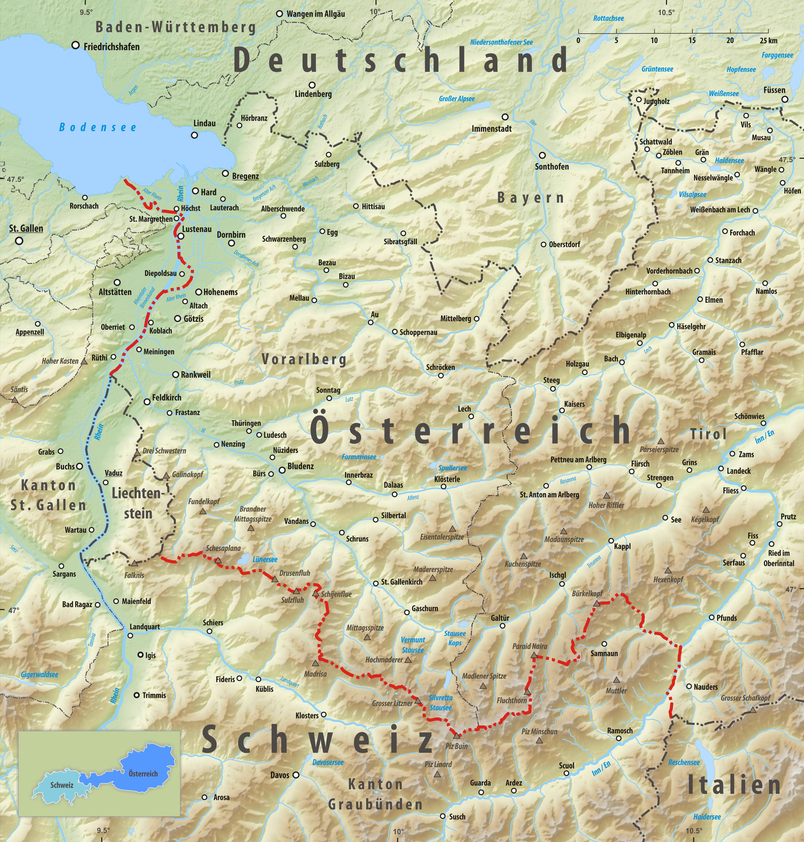 deutschland österreich grenze karte Grenze zwischen Österreich und der Schweiz – Wikipedia