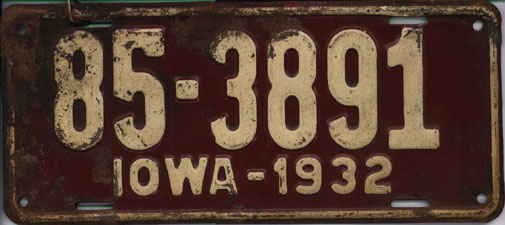 Iowa_1932_license_plate_-_Number_85-3891