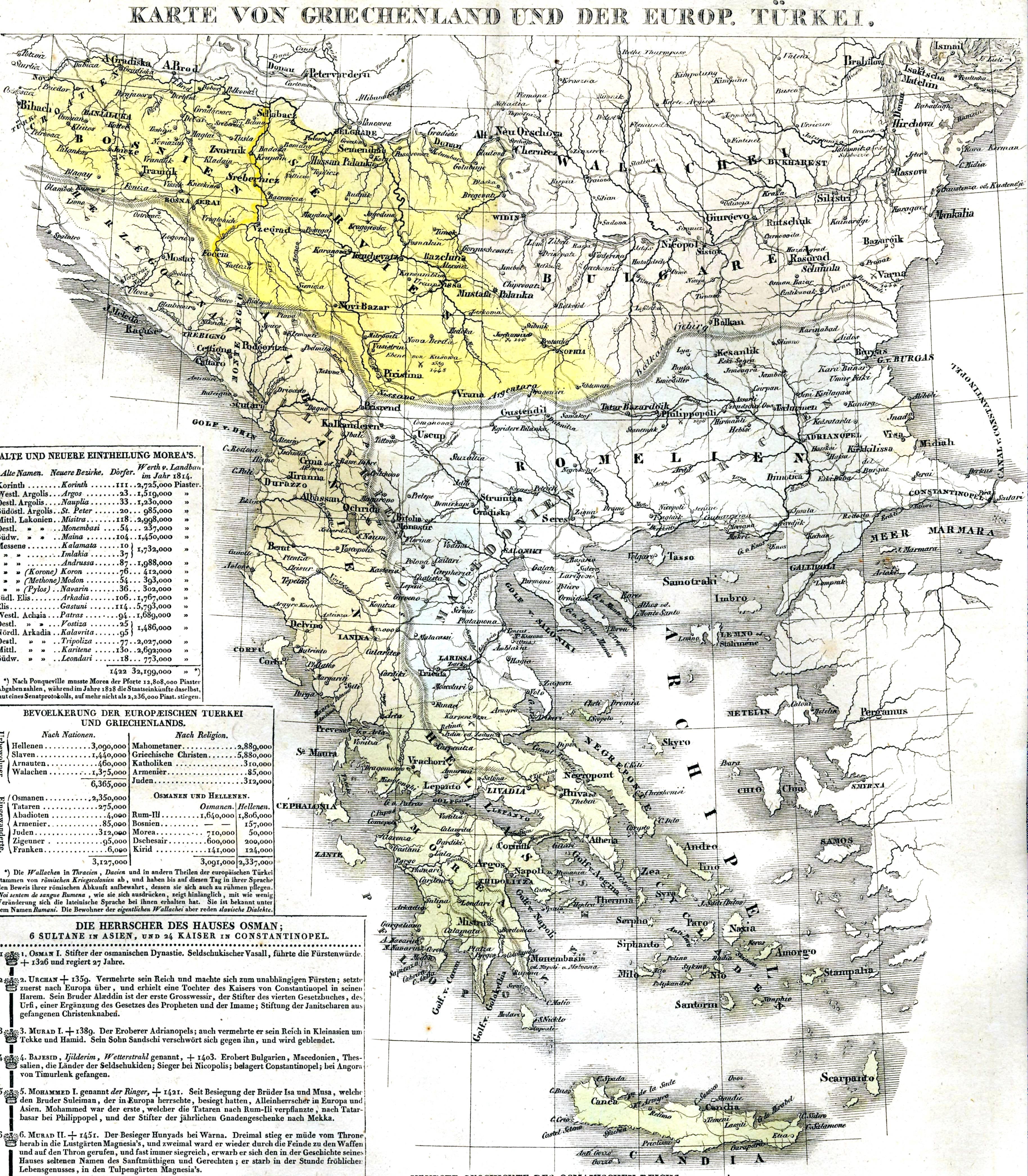 Karte Griechenland.Datei Karte Von Griechenland Und Der Europäischen Türkei 1829 Jpg