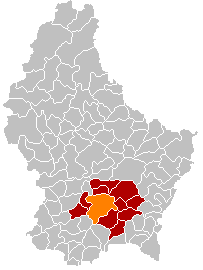 Map showing, in orange, Luxembourg