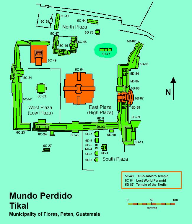 File:Map of the Mundo Perdido complex, Tikal.png